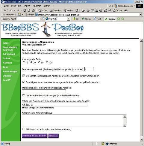 PostBox Ferienabwesenheit und Weiterleitung
