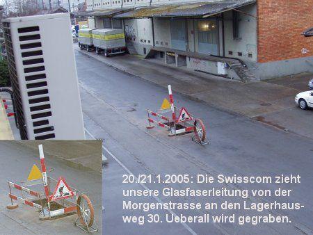 Einzug der Glasfaserleitung durch Swisscom