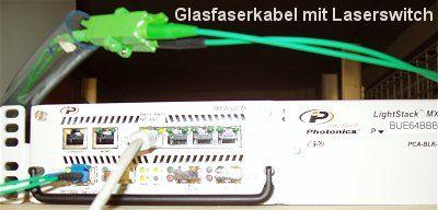 Glasfaserkabel und Laserswitch