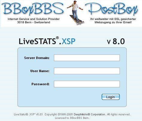 Anmeldescreen für Ihre Live-Statistik bei der BBoxBBS