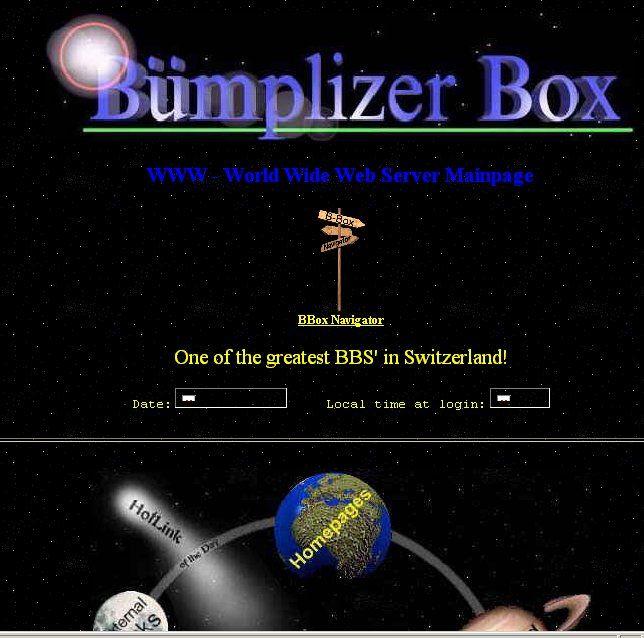 Webseite der Bümplizer Box im 1996 und 1997 /(Nostalgie)