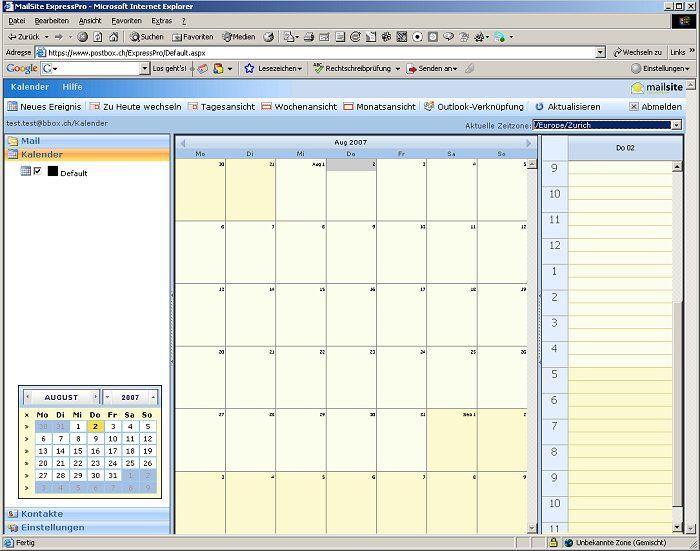 Webmail ExpressPro Kalender