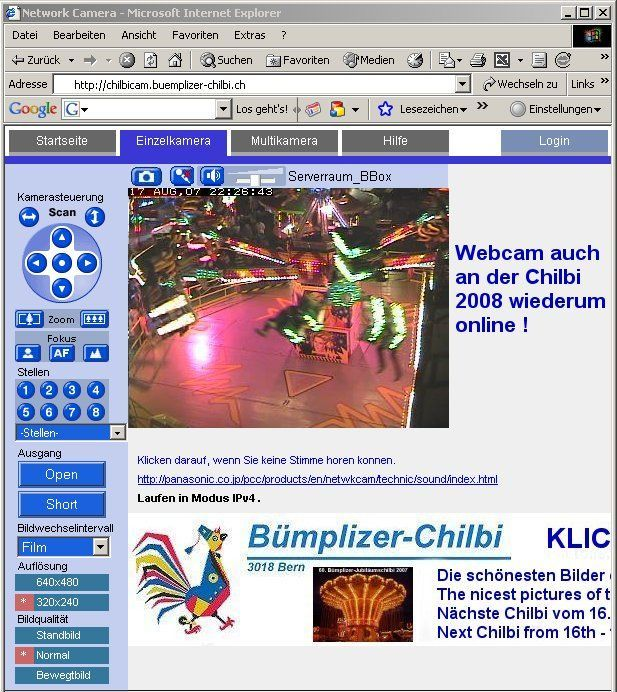 Die Chilbicam (Webcam) wird auch an der Bümplizer-Chilbi 2008 online sein.